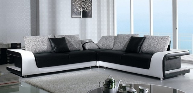 Fashionable Black And White Sectional Sofa In Top Grain Leather – Modern Throughout Black And White Sofas (View 5 of 10)