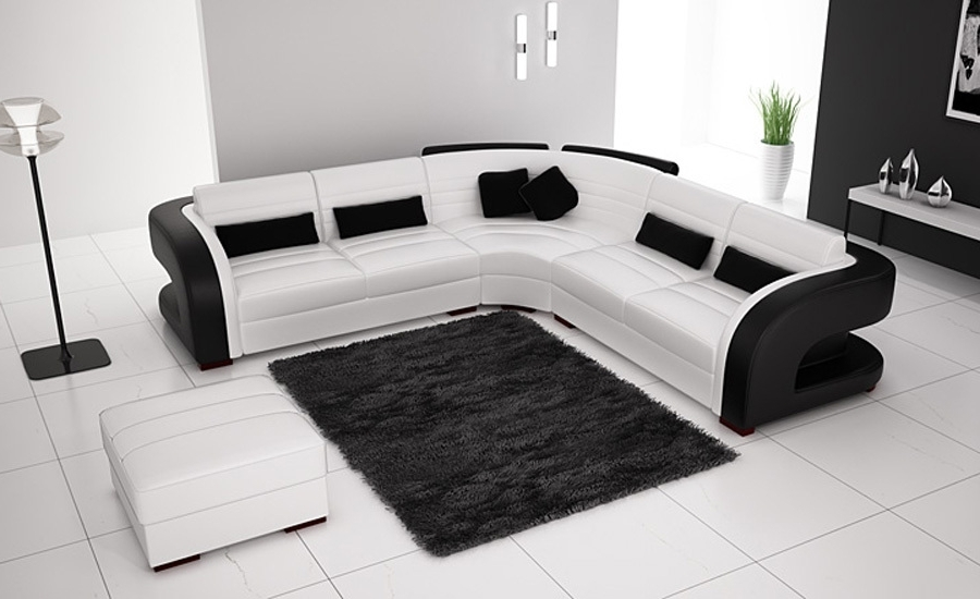 Fashionable Black And White Sofas Pertaining To Free Shipping Classic Black And White Genuine Leather L Shaped (View 6 of 10)