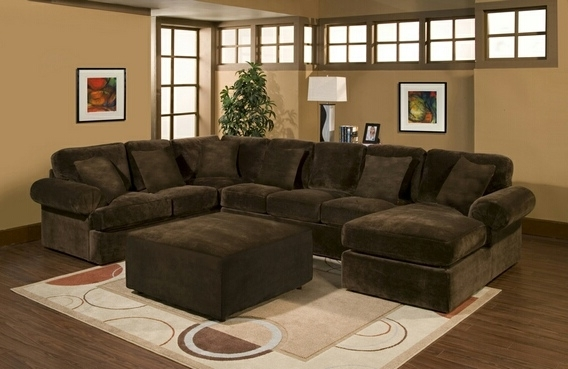 Fashionable Brown Sectionals With Chaise Throughout Sofa Beds Design: Breathtaking Modern Velour Sectional Sofa Design (Gallery 4 of 15)