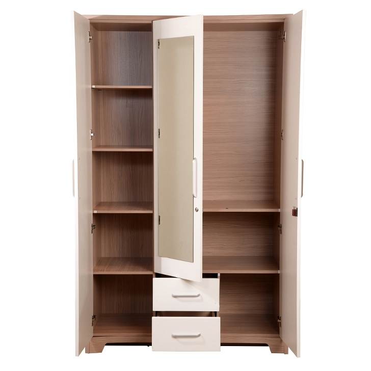 Fashionable Buy Ambra Three Door Wardrobe With Mirror In White Finish Online Intended For Three Door Wardrobes With Mirror (View 2 of 15)