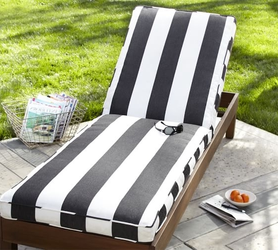 Fashionable Chaise Cushions Intended For Sunbrella® Piped Outdoor Chaise Cushion – Stripe (View 10 of 15)