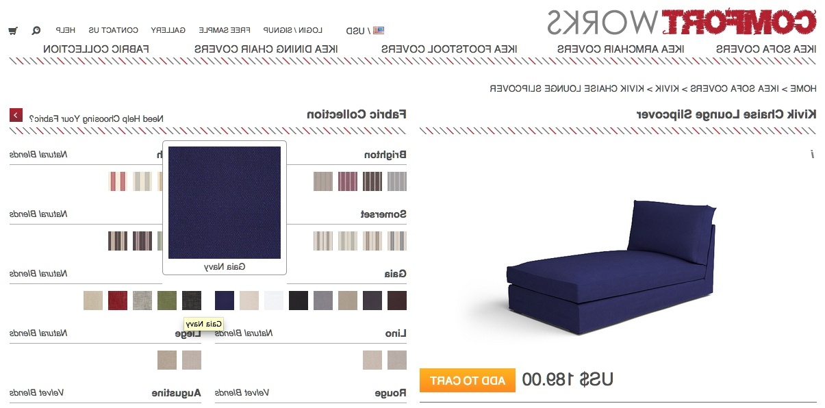 Fashionable Chaise Lounge Sofa Covers Intended For Gaia Navy And Rouge Indigo – New Fabrics From Comfort Works (View 10 of 15)