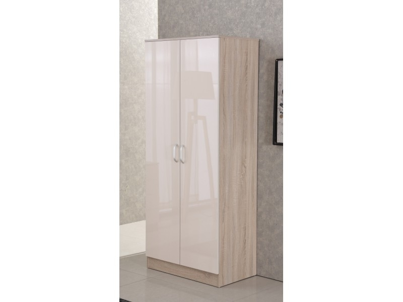 Fashionable Cream Gloss Wardrobes With Regard To Gladini High Gloss Wardrobe – Cream/oak (View 3 of 15)