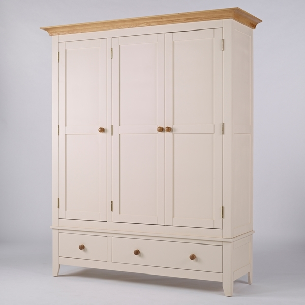 Fashionable Cream Triple Wardrobes For Triple Wardrobe – Camden (View 6 of 15)