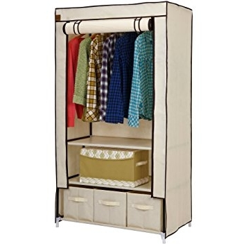 Fashionable Double Rail Wardrobes With Drawers With Regard To Vonhaus Double Canvas Effect Wardrobe – Clothes Storage Cupboard (View 10 of 15)