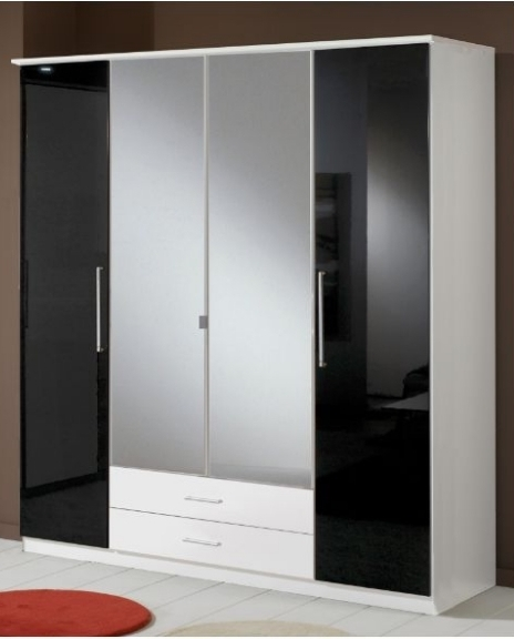 Fashionable Glossy Wardrobes In Berlin 4 Door Wardrobe Black Gloss And White (View 11 of 15)
