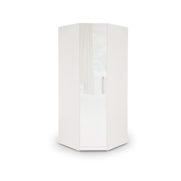 Fashionable Harris High Gloss White Corner Wardrobe (View 1 of 15)