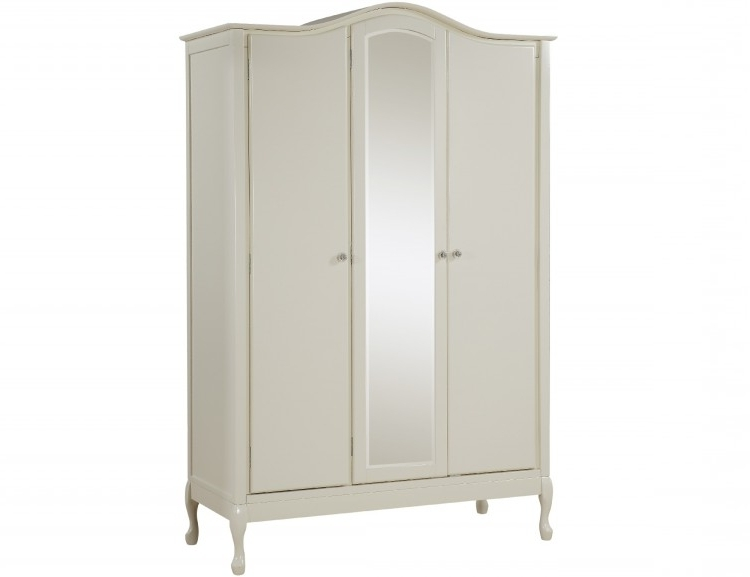 Fashionable Ivory Wardrobes For Gfw Loire 3 Door Ivory Wardrobe With Centre Mirrorgfw (View 8 of 15)