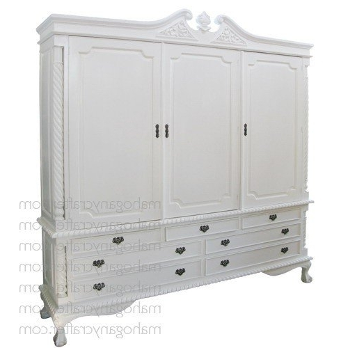 Fashionable Large White Wardrobes With Drawers Inside 3 Door 7 Drawer Large Wardrobe Painted Antique White Mahogany (View 2 of 15)