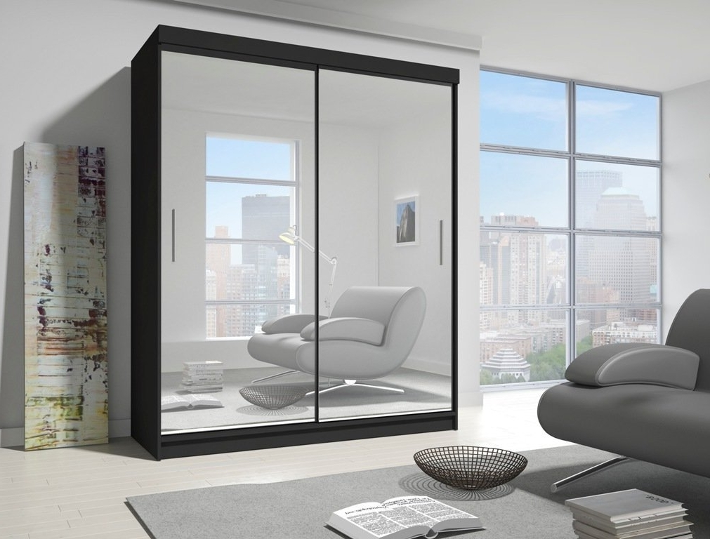 Fashionable Malta Black Full Mirror Sliding Door Wardrobe: Amazon.co (View 3 of 15)