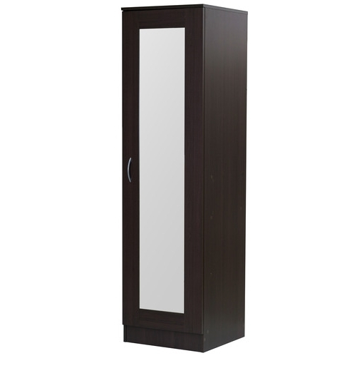 Fashionable Mirror Design Ideas: Namito Chocolate Single Wardrobe With Mirror Regarding Single Black Wardrobes (View 3 of 15)