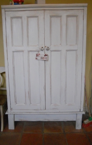 Fashionable Shabby Chic Wardrobes For Sale Pertaining To Shabby Chic Pine Painted Wardrobe Larder Coat Cupboard Armoire (View 2 of 15)