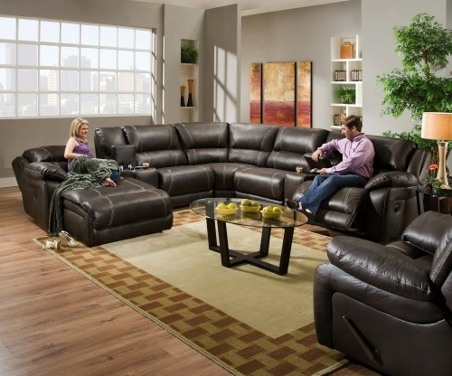Fashionable Simmons Sectional Sofas Inside Simmons 50660 Blackjack Brown Leather Sectional Sofa Recliner (View 8 of 10)
