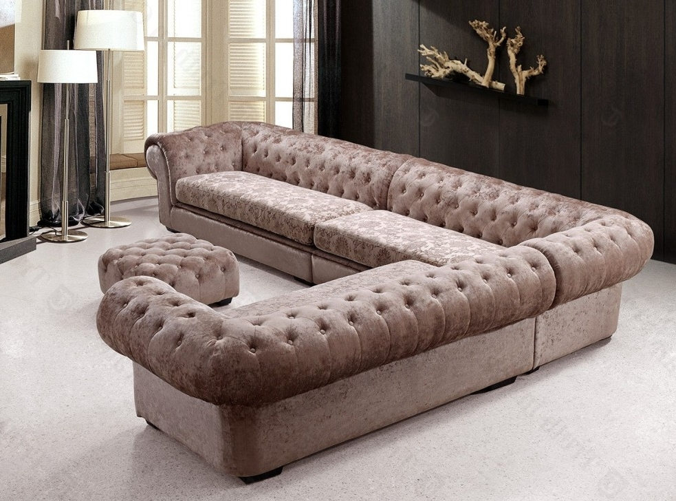 Fashionable Tufted Sectional Sofa Chaise — Fabrizio Design : Tufted Sectional For Tufted Sectional Sofas (View 3 of 10)