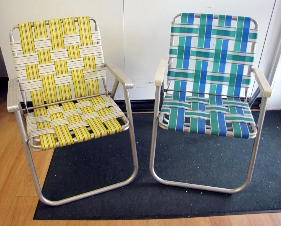 Fashionable Web Chaise Lounge Lawn Chairs With Regard To Pair Retro Vtg Vintage Folding Aluminum Lawn Chair Webbed Web (View 1 of 15)