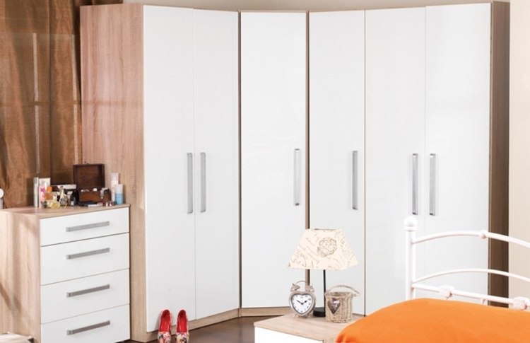 Fashionable White Gloss Corner Wardrobes Pertaining To Sweet Dreams Gloss White Corner Wardrobesweet Dreams (View 2 of 15)
