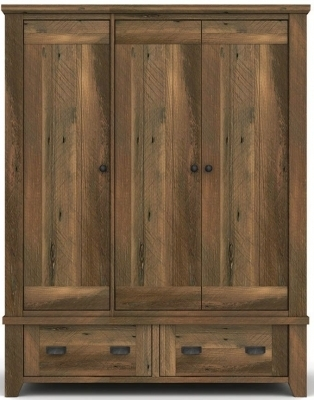 Fashionable Wood Wardrobes Within Buy Vida Living New Forest Reclaimed Pine 3 Door Wardrobe Online (View 8 of 15)
