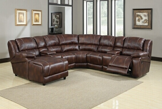 Faux Leather Reclining Sectional Throughout Sectional Sofas With Consoles (View 4 of 10)