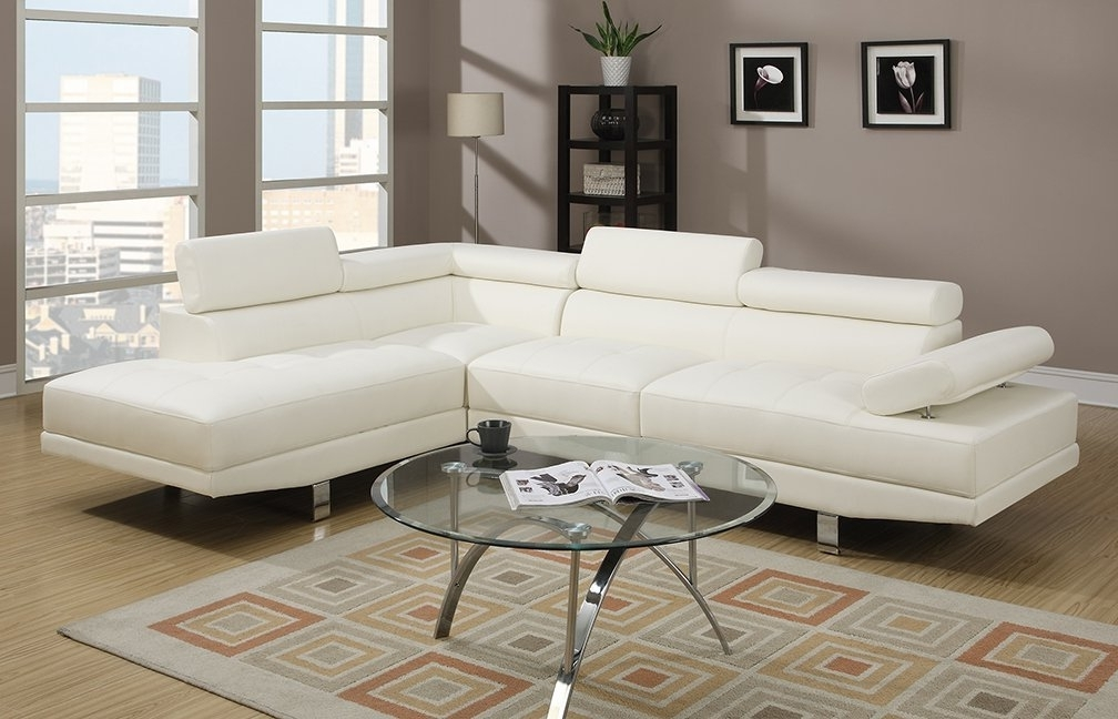 Faux Leather Sectional Sofas Inside Latest Amazon: Poundex 2 Pieces Faux Leather Sectional Right Chaise (View 4 of 10)