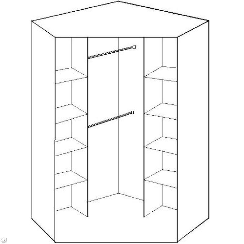 Favorite 2 Door Corner Wardrobe (Black Gloss Doors) (View 9 of 15)