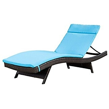 Favorite Amazon: Outdoor Chaise Lounge Cushion, Waterproof Fabric , Set Inside Blue Outdoor Chaise Lounge Chairs (View 8 of 15)