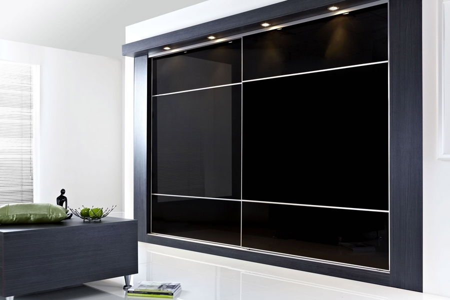Favorite Black Glass Wardrobes Intended For Super Fine Satin Silver Frame With Black Glass (View 6 of 15)