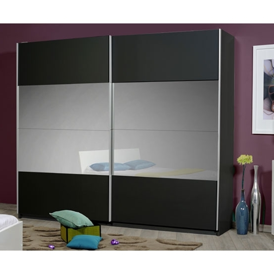 Favorite Black Sliding Wardrobes With Regard To Optimus Black 2 Door Sliding Wardrobe With Grey Glass In (View 6 of 15)