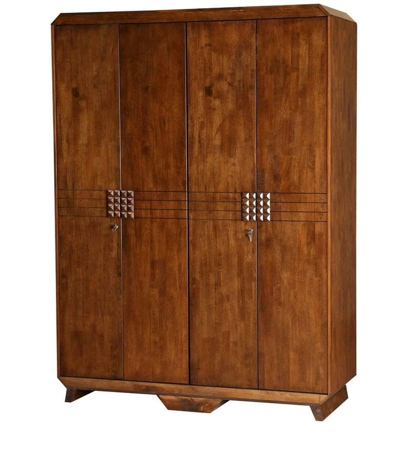 Favorite Buy Enrique Solid Wood Four Door Wardrobehometown Online – 4 For Cheap Wood Wardrobes (View 10 of 15)