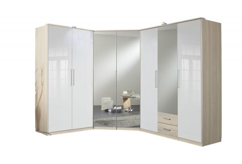 Favorite Corner Mirror Wardrobe Details About German 7 Door White Gloss With Corner Mirror Wardrobes (View 14 of 15)