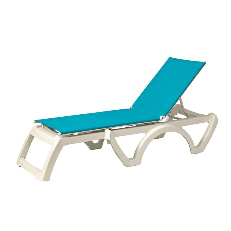 Favorite Heavy Duty Outdoor Chaise Lounge Chairs With Regard To Calypso Adjustable Sling Stacking Chaise Lounge – Pack Of  (View 2 of 15)