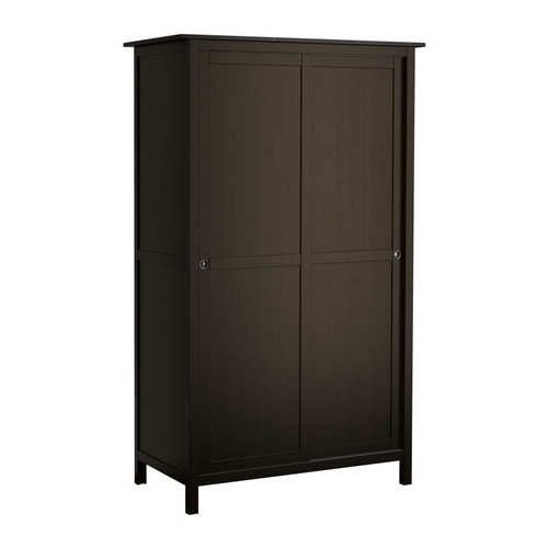 Favorite Hemnes Wardrobe With 2 Sliding Doors – Black Brown – Ikea Pertaining To Black Wood Wardrobes (View 11 of 15)
