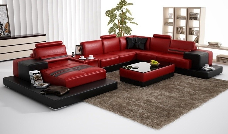 Favorite Olympian Sofas Nurburg Red Black Leather Sofa – Sectional Sofas Inside Red And Black Sofas (View 4 of 10)