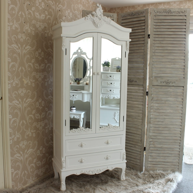 Favorite Pays Blanc Range – Antique White Mirrored Closet (View 6 of 15)