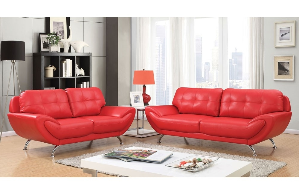 Favorite Red Leather Sofas Pertaining To Modern Red Leather Sofa (View 5 of 10)