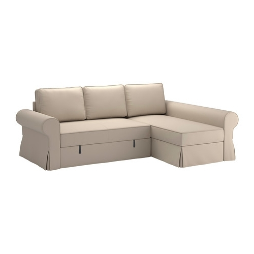 Favorite Sofa Beds With Chaise Throughout Backabro Cover Sofa Bed With Chaise Longue Ramna Beige – Ikea (View 5 of 15)