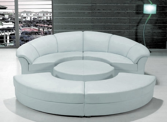 Favorite Stylish White Leather Circular Sectional Sofa – Modern – Living With Regard To Circular Sectional Sofas (View 6 of 10)