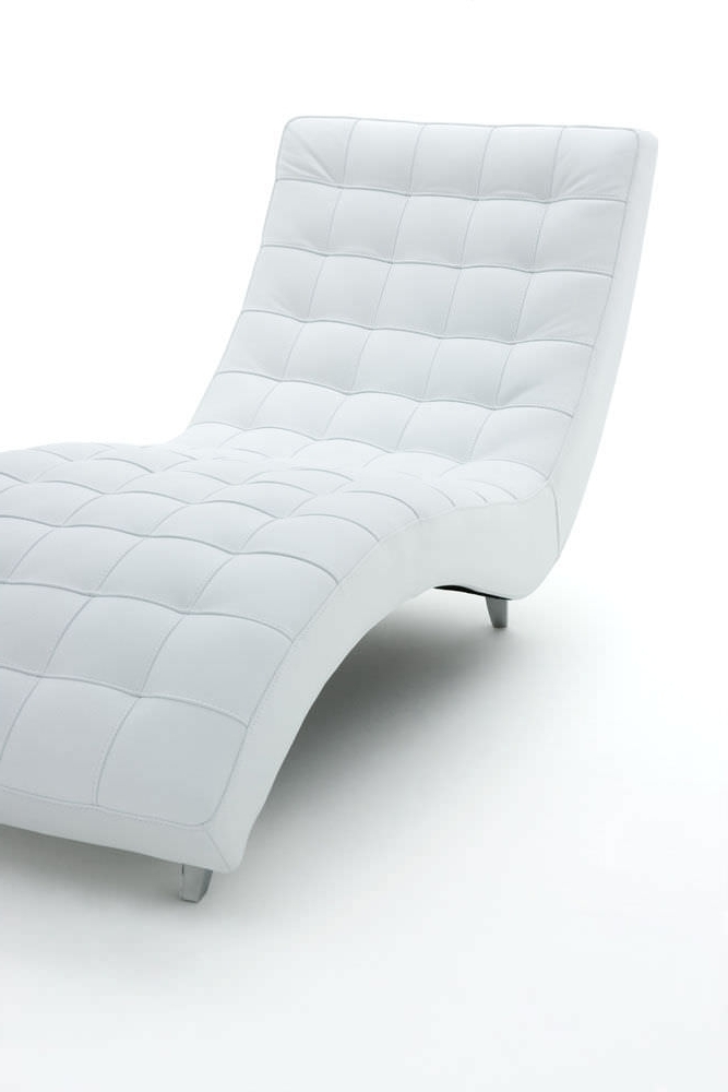 Favorite The Contemporary Chaise Longue Fabric Leather Ginger Alberta For White Leather Chaise Lounges (View 5 of 15)