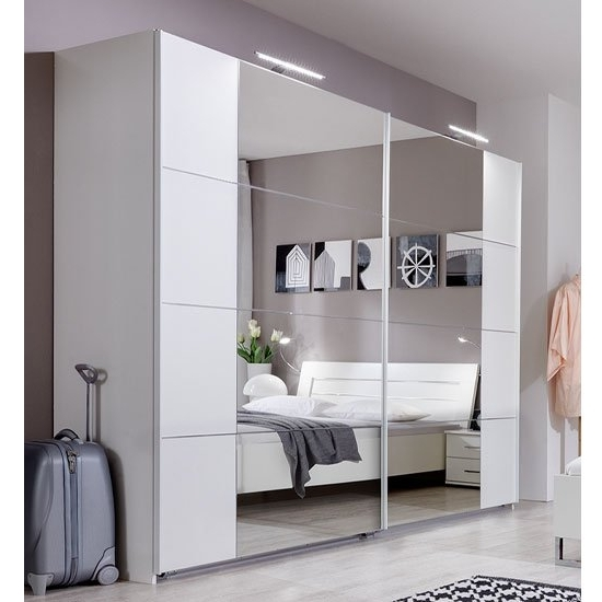 Favorite White Gloss Mirrored Wardrobes Inside Sliding Robe Wardrobe In Alpine White With Lights (View 3 of 15)
