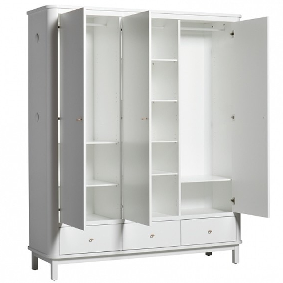 Favorite White Three Door Wardrobes In Oliver Furniture Wood 3 Door Wardrobe – White (View 3 of 15)