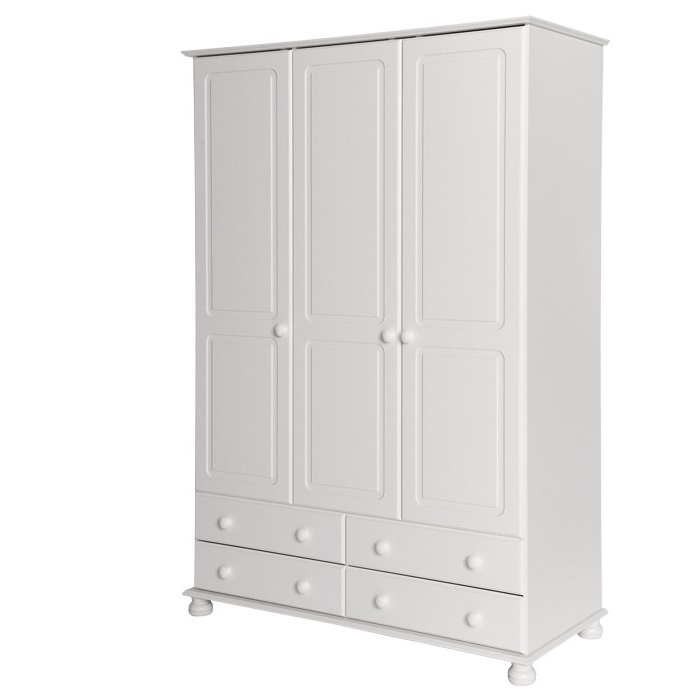 Favorite White Wardrobes With Drawers Pertaining To Oslo White 3 Door 4 Drawer Wardrobe (View 10 of 15)
