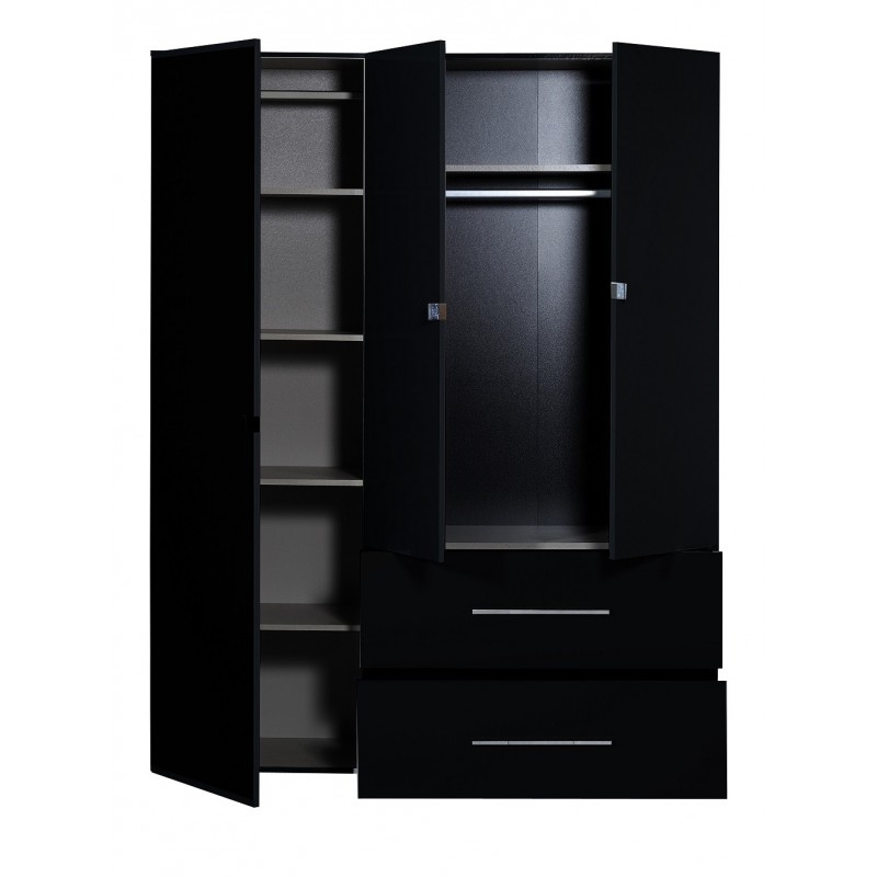 First Ii – Black Gloss 3 Door Wardrobe With Mirror – Wardrobes With Preferred 3 Door Wardrobes With Drawers And Shelves (View 9 of 15)