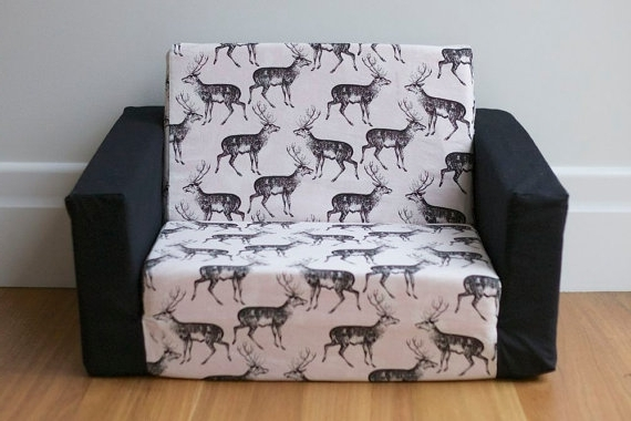 Flip Out Sofas In Latest Kids Flip Out Sofa Cover: Black On White Deer Print With Black (View 4 of 10)