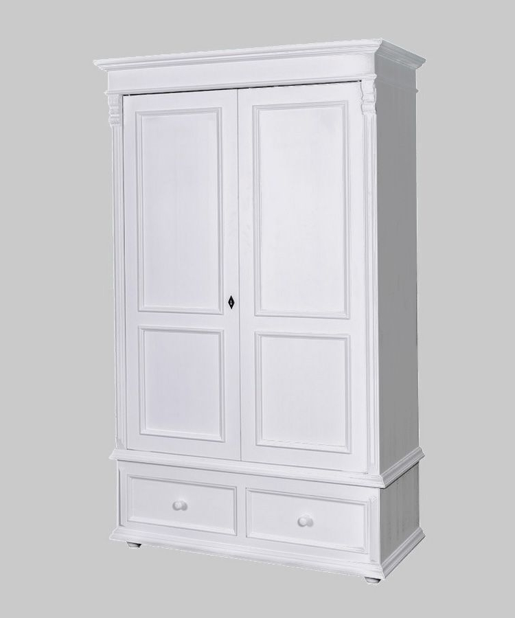 French Empire Double Wardrobe With Two Drawers Regarding Best And Newest Two Door White Wardrobes (View 3 of 15)