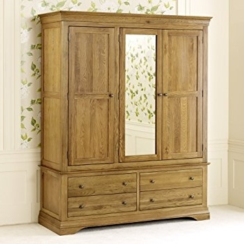 French Louis Oak Triple Wardrobe With Mirror: Amazon.co (View 5 of 15)