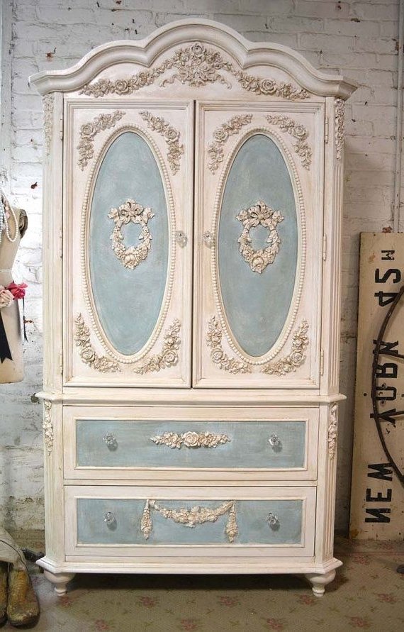 French Shabby Chic Wardrobes Throughout Widely Used Painted Cottage Chic Shabby Romantic Bedroom Armoire / Wardrobe (View 6 of 15)