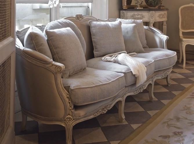 French Style Sofa In Linen Fabric Decorating Ideas Gray Decor Regarding Newest French Style Sofas (View 6 of 10)