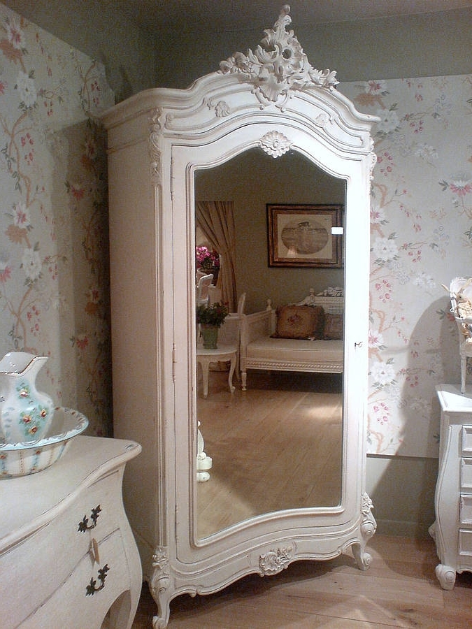 French Wardrobes Intended For 2018 White French Armoireout There Interiors (View 6 of 15)