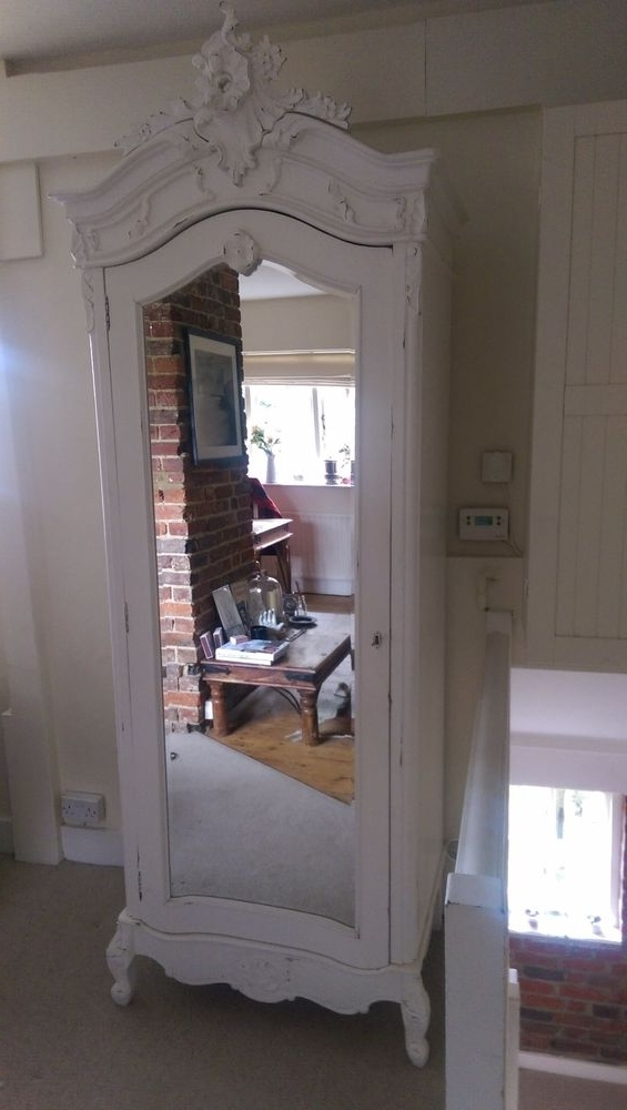 French White Chateau Shabby Chic Mirrored Single Door Armoire Regarding 2017 Single French Wardrobes (View 12 of 15)