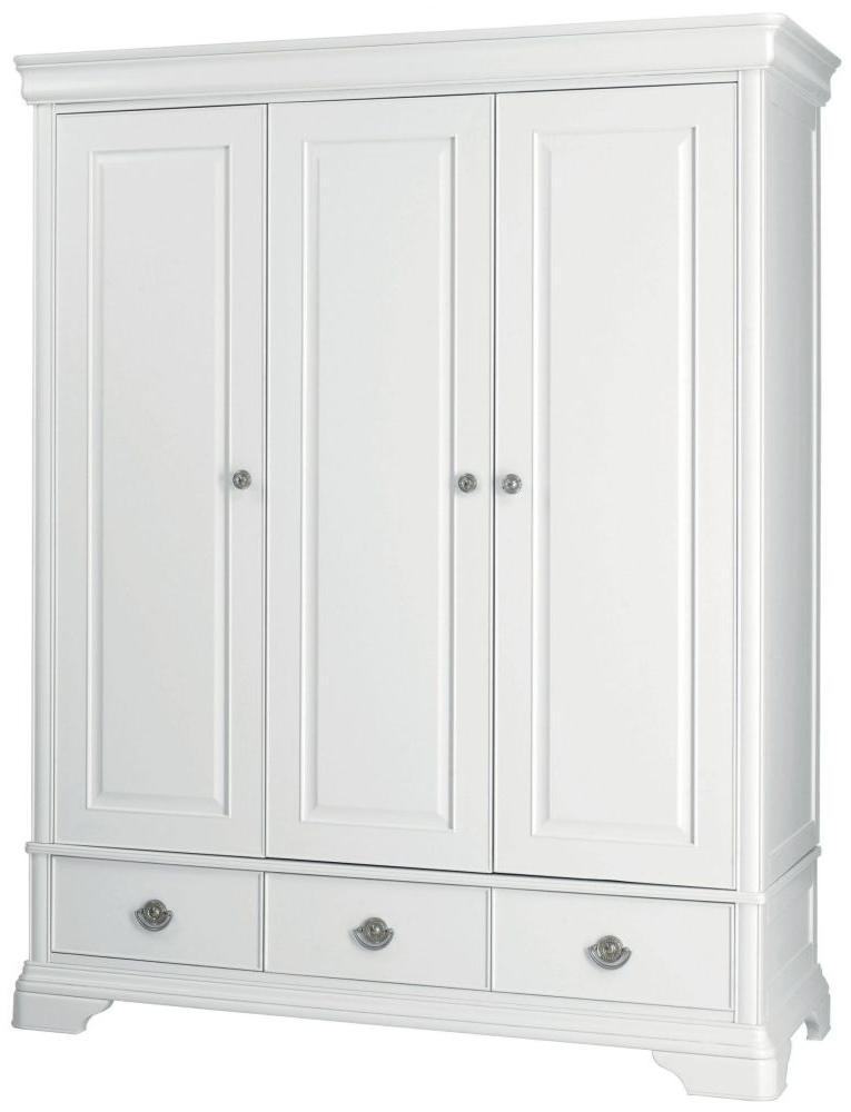 French White Wardrobes Throughout Well Known Buy Bentley Designs Chantilly White Wardrobe – Triple Online – Cfs Uk (View 4 of 15)