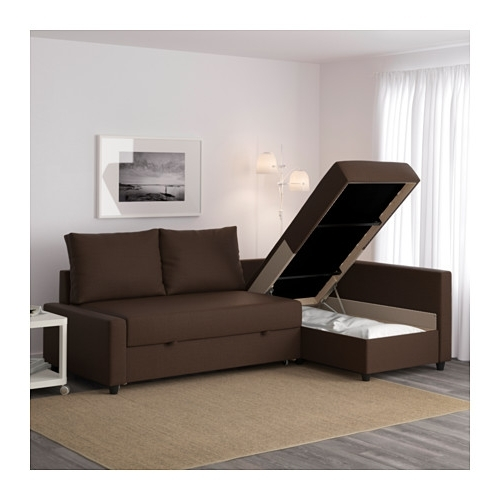 Friheten Corner Sofa Bed With Storage Skiftebo Brown – Ikea Within Widely Used Ikea Corner Sofas With Storage (View 3 of 10)